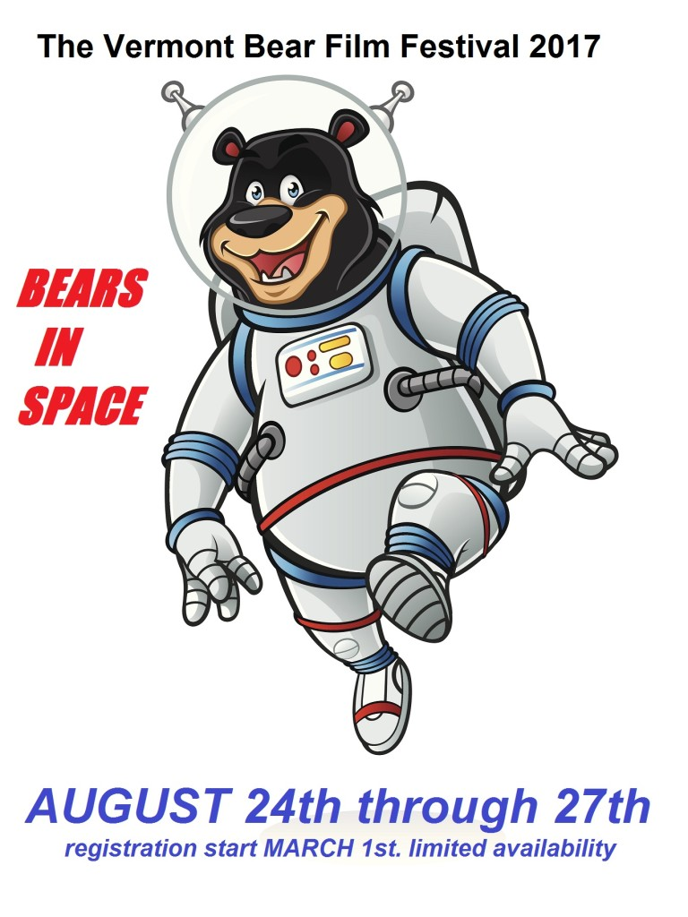 bear astronauts was jumping like walking on the moon and smiling happily